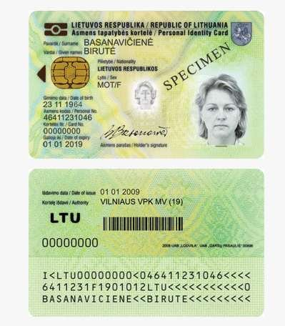 Lietuvos respublikos paso pavyzdys